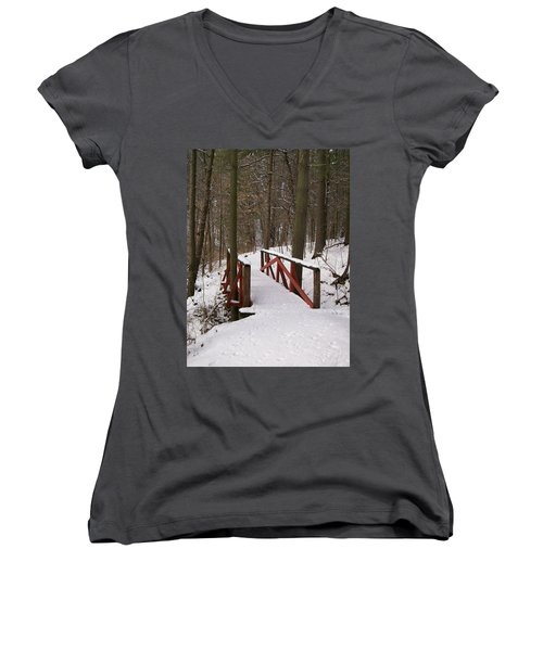 Winter Crossing Women's V-Neck T-Shirt (Junior Cut) by Sara  Raber