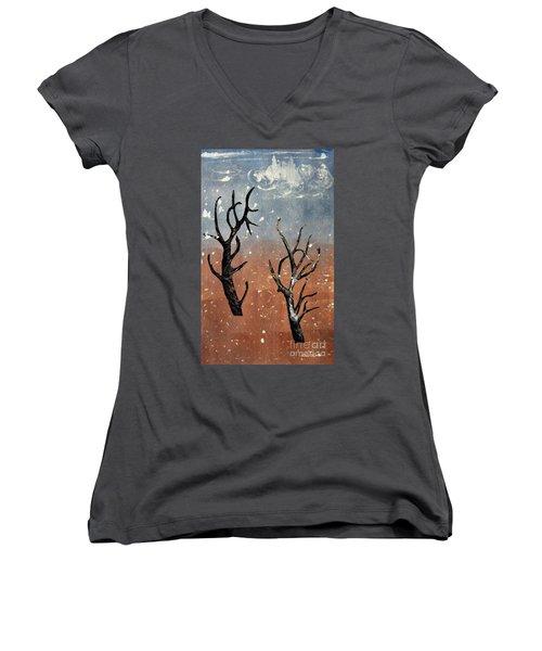 Winter Day Women's V-Neck T-Shirt (Junior Cut) by Sarah Loft