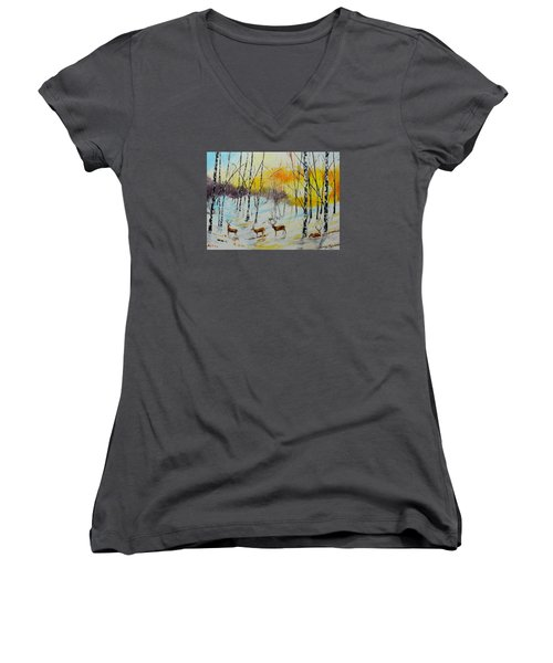 Winter Deer Women's V-Neck
