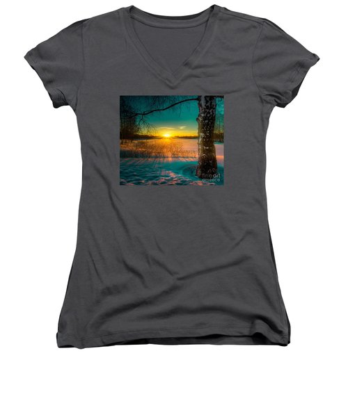 Winter Delight In British Columbia Women's V-Neck T-Shirt