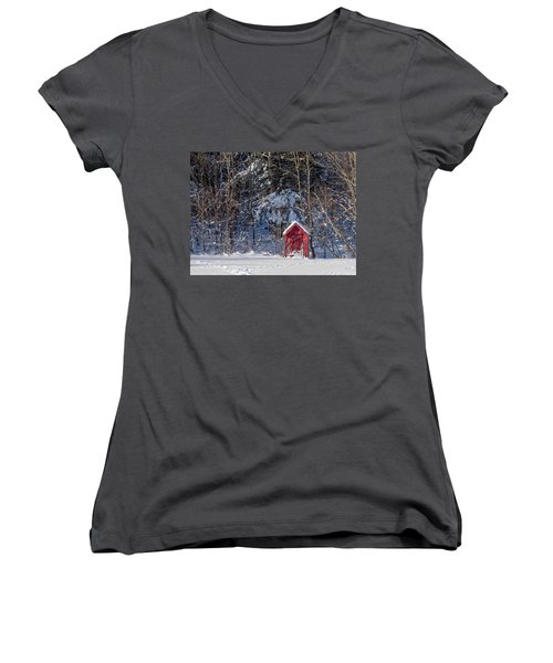 Women's V-Neck T-Shirt (Junior Cut) featuring the photograph Winter, Down East Maine  by Trace Kittrell