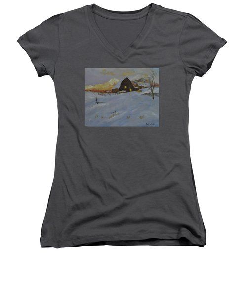 Winter Dusk On The Farm Women's V-Neck