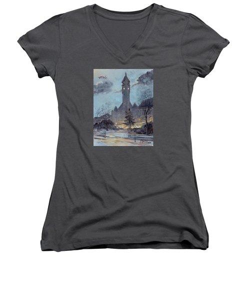 Winter Dusk - Union Station Women's V-Neck T-Shirt (Junior Cut) by Irek Szelag