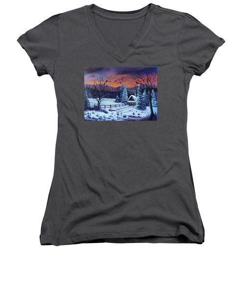 Winter Evening 2 Women's V-Neck T-Shirt