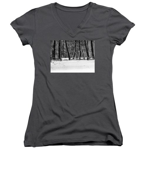 Winter Fences In Black And White  Women's V-Neck