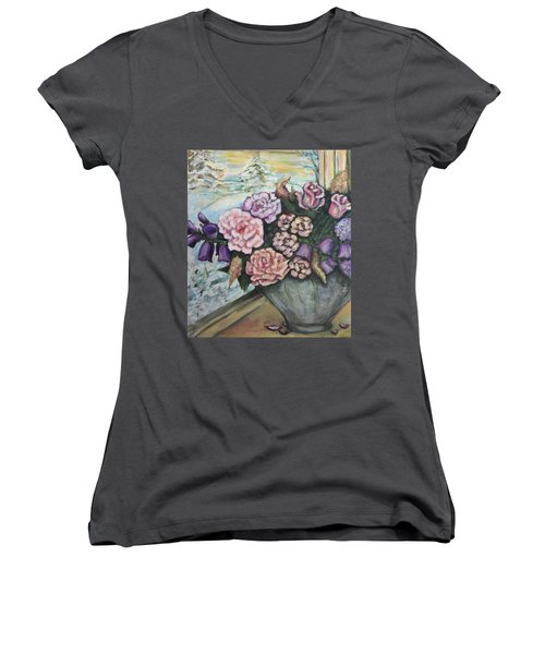 Women's V-Neck T-Shirt (Junior Cut) featuring the painting Winter Flowers by Rae Chichilnitsky