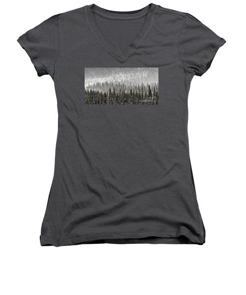 Winter Forest Women's V-Neck T-Shirt (Junior Cut) by Brad Allen Fine Art