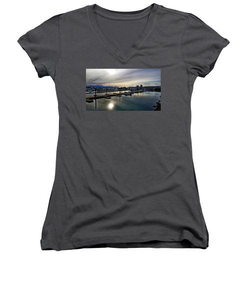 Winter Harbor Revisited #mobilephotography Women's V-Neck T-Shirt (Junior Cut) by Chriss Pagani