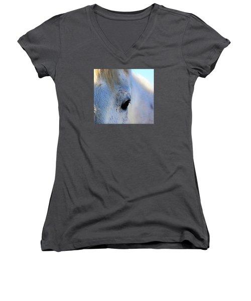 Winter Horse Women's V-Neck T-Shirt (Junior Cut) by Deborah Moen