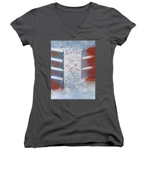 Winter In Chernogolovka Women's V-Neck T-Shirt (Junior Cut) by Tamara Savchenko