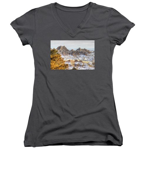 Women's V-Neck featuring the photograph Winter In The Badlands by Bill Gabbert