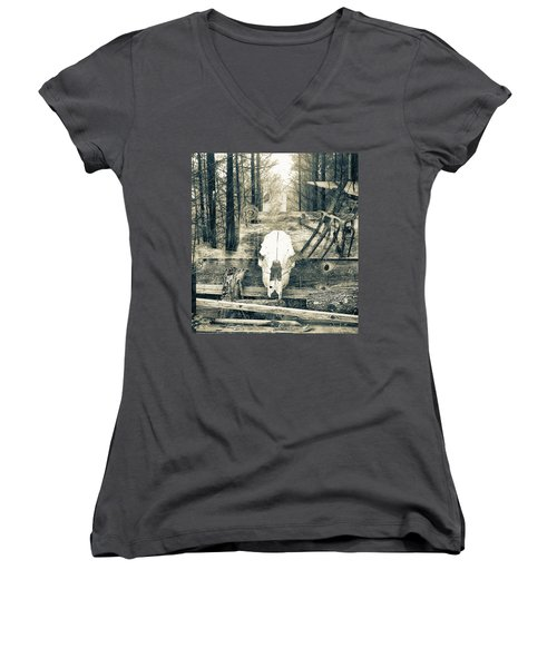 Winter In The In The Woods Women's V-Neck (Athletic Fit)