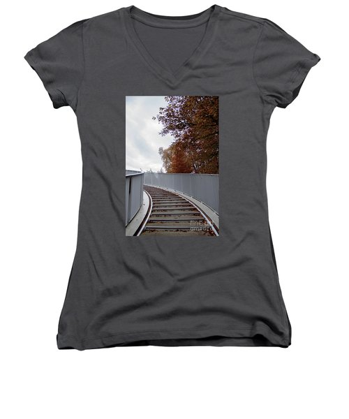 Winter Is Around The Corner Women's V-Neck T-Shirt (Junior Cut) by Ana Mireles