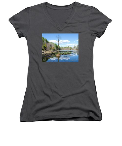 Women's V-Neck T-Shirt (Junior Cut) featuring the photograph Winter Lake View by George Randy Bass
