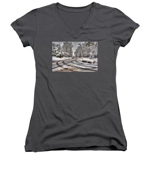 Tracks In The Snow Women's V-Neck T-Shirt (Junior Cut) by Alex Galkin