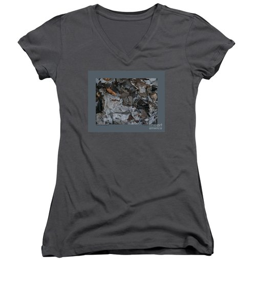 Women's V-Neck T-Shirt (Junior Cut) featuring the photograph Winter Leaf Abstract-iii by Patricia Overmoyer