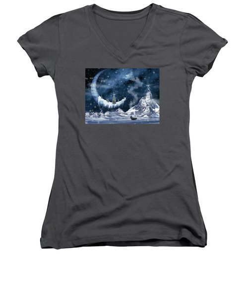 Winter Moon Women's V-Neck T-Shirt (Junior Cut) by Mihaela Pater