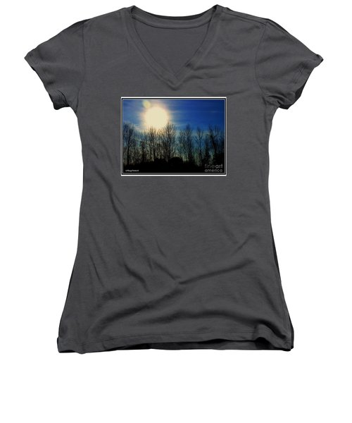 Winter Morning Women's V-Neck T-Shirt (Junior Cut) by MaryLee Parker