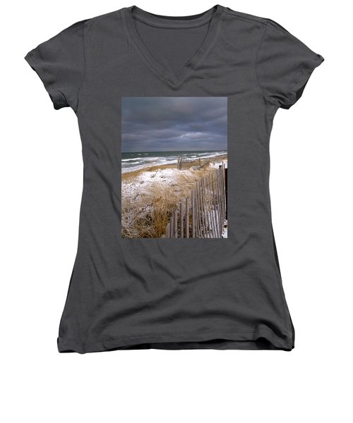 Winter On Cape Cod Sandy Neck Beach Women's V-Neck