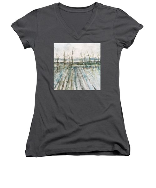Winter On The Delta Women's V-Neck T-Shirt (Junior Cut) by Robin Miller-Bookhout