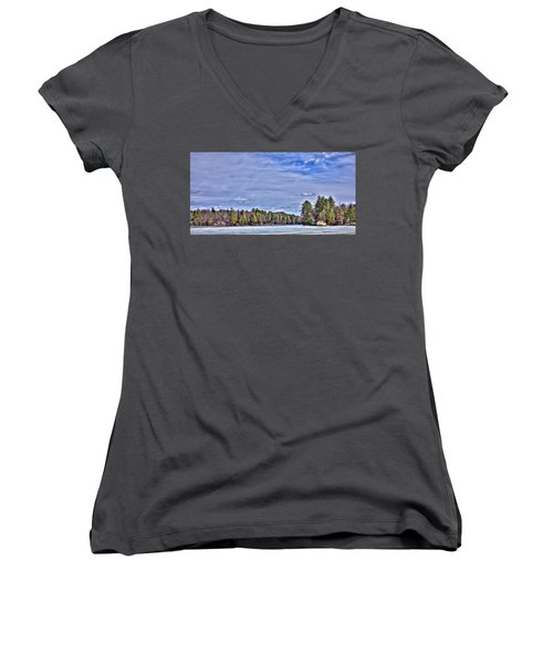 Women's V-Neck T-Shirt (Junior Cut) featuring the photograph Winter On The Pond by David Patterson