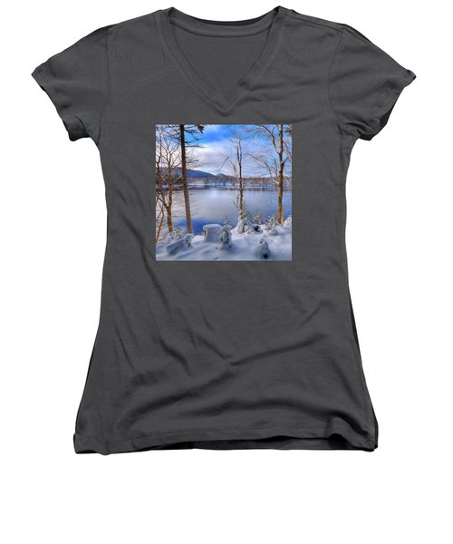 Winter On West Lake Women's V-Neck T-Shirt (Junior Cut) by David Patterson