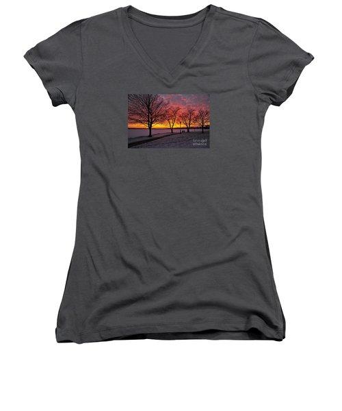 Women's V-Neck T-Shirt (Junior Cut) featuring the photograph Winter Park by Terri Gostola