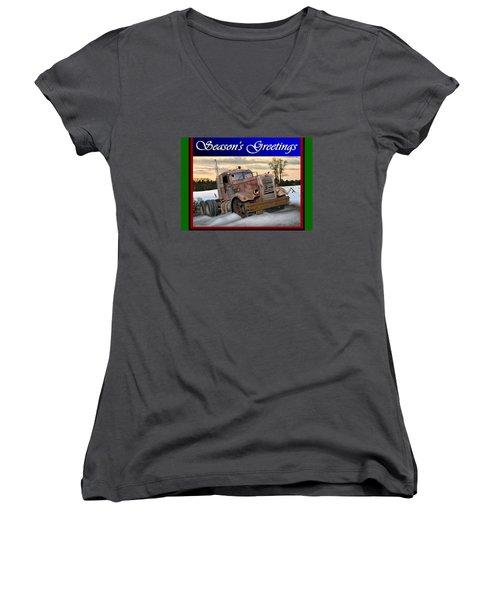Women's V-Neck T-Shirt (Junior Cut) featuring the digital art Winter Pete Season's Greetings by Stuart Swartz