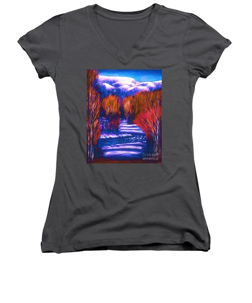 Winter Shadows  Women's V-Neck T-Shirt (Junior Cut)