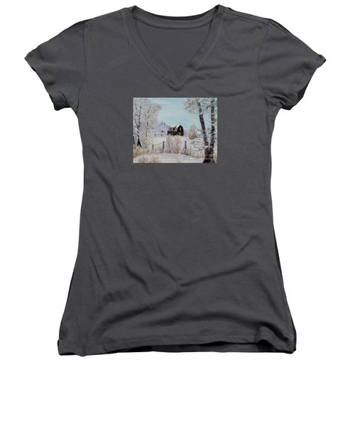 Women's V-Neck T-Shirt (Junior Cut) featuring the painting Winter Solace by Marilyn  McNish