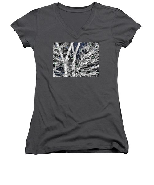 Women's V-Neck T-Shirt (Junior Cut) featuring the digital art Winter Song by Wendy J St Christopher