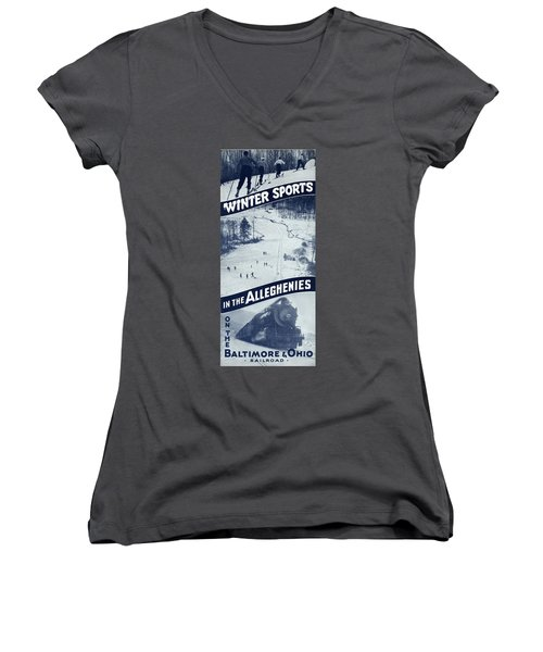 Winter Sports In The Alleghenies Women's V-Neck (Athletic Fit)