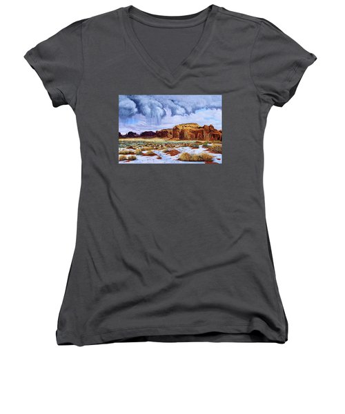 Winter Storm In Mystery Valley Women's V-Neck (Athletic Fit)