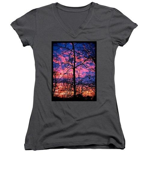 Winter Sunrise Women's V-Neck T-Shirt (Junior Cut) by Betty Buller Whitehead
