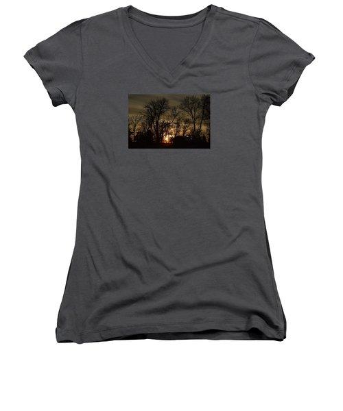 Winter Sunset  Women's V-Neck T-Shirt (Junior Cut) by Dacia Doroff