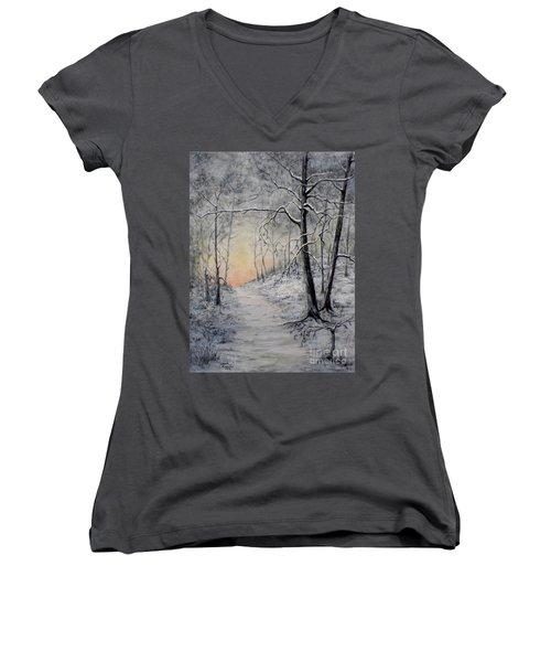 Winter Sunset Women's V-Neck T-Shirt