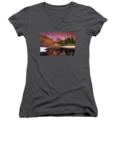 Women's V-Neck featuring the photograph Winter Sunset Lights Up Half Dome Yosemite National Park by Dave Welling