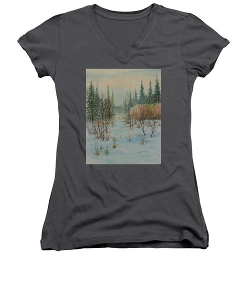 Winter Trail Alberta Women's V-Neck T-Shirt