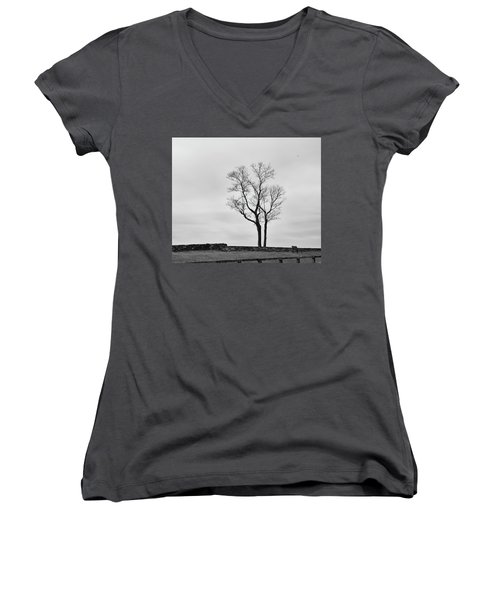 Women's V-Neck T-Shirt (Junior Cut) featuring the photograph Winter Trees And Fences by Nancy De Flon