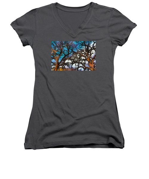 Women's V-Neck T-Shirt (Junior Cut) featuring the photograph Winter Trees At Fort Tejon Lebec California Abstract by Floyd Snyder