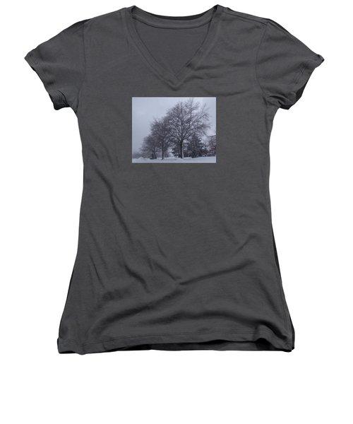 Women's V-Neck T-Shirt (Junior Cut) featuring the photograph Winter Trees In Sea Girt by Melinda Saminski