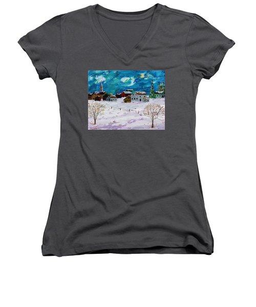 Winter Village Women's V-Neck T-Shirt (Junior Cut) by Mike Caitham