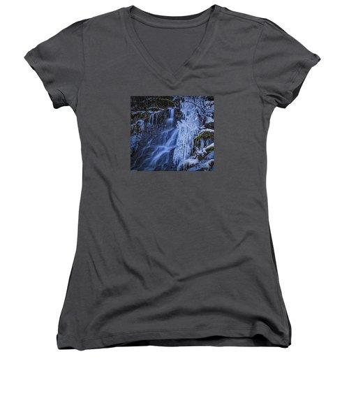 Winterfalls Women's V-Neck T-Shirt (Junior Cut) by Mitch Shindelbower