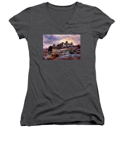 Winterfell Women's V-Neck T-Shirt (Junior Cut) by Lilia D