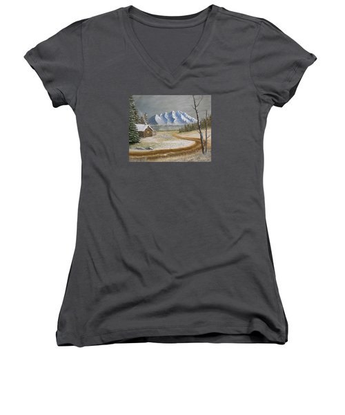 Women's V-Neck T-Shirt (Junior Cut) featuring the painting Winter's Arrival by Sheri Keith