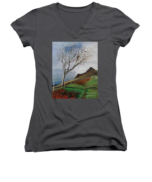 Winter's Day At Yewbarrow -painting Women's V-Neck T-Shirt