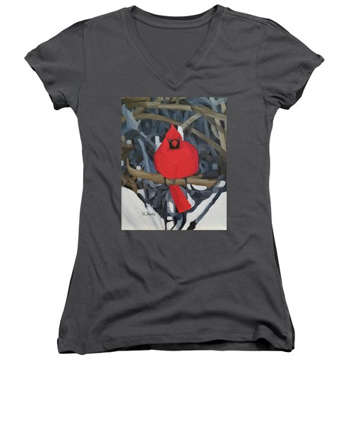 Women's V-Neck T-Shirt (Junior Cut) featuring the painting Winters Refuge by Wendy Shoults