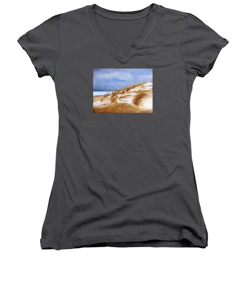Women's V-Neck T-Shirt (Junior Cut) featuring the photograph Wintertime St. Joe Lighthouse  by Kathi Mirto