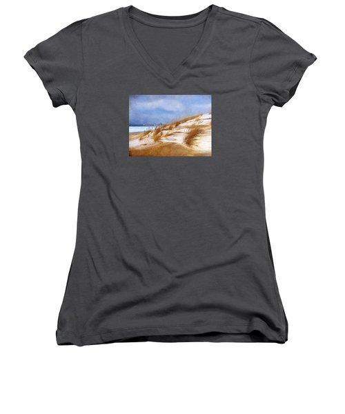 Wintertime St. Joe Lighthouse  Women's V-Neck T-Shirt (Junior Cut) by Kathi Mirto