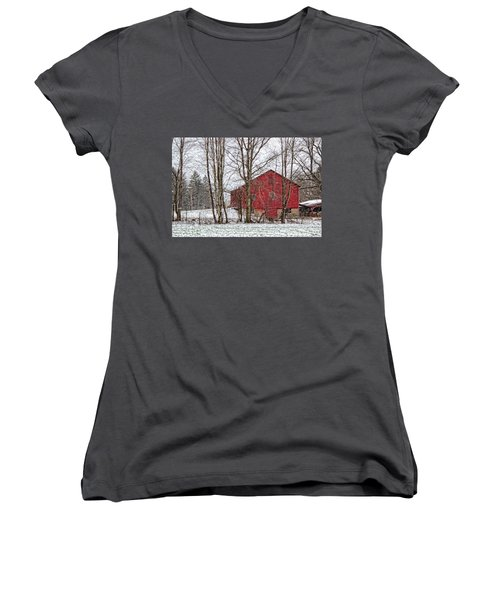 Women's V-Neck T-Shirt (Junior Cut) featuring the photograph Wintry Barn by Skip Tribby